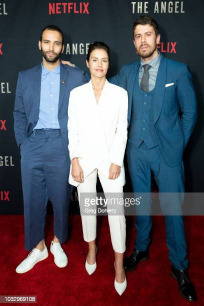 Actors Marwan Kenzari Hannah Ware and Toby Kebbell attend the Screening Of Netflix's The Angel at TCL Chinese 6 Theatres on September 13 2018 in...