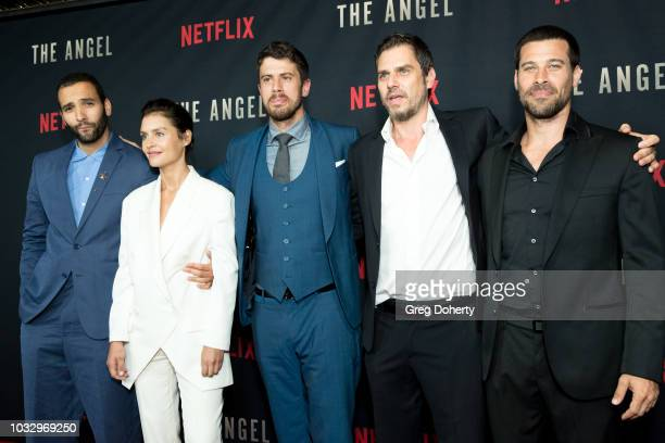 Actors Marwan Kenzari Toby Kebbell and Hannah Ware Director Ariel Vromen and Actor Guy Adler attend the Screening Of Netflix's The Angel at TCL...