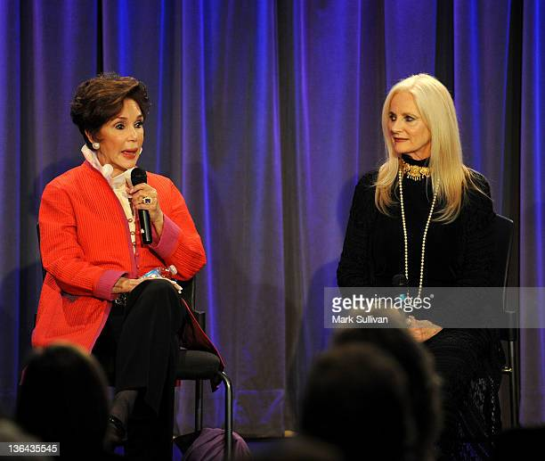 Actors Mary Ann Mobley and Celeste Yarnall onstage during Elvis At The Movies at The GRAMMY Museum on January 4 2012 in Los Angeles California