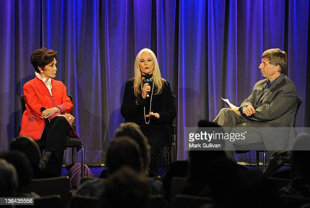 Actors Mary Ann Mobley and Celeste Yarnall onstage with executive director of the GRAMMY Museum Robert Santelli during Elvis At The Movies at The...