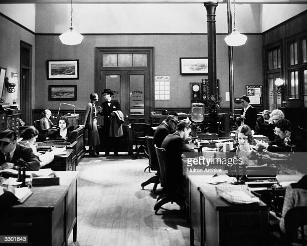 Actors Mary Astor and Charles Sellon in a scene from the RKO film 'Behind Office Doors'