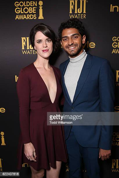 Actors Mary Holland and Karan Soni attend the Hollywood Foreign Press Association and InStyles Celebration of the 2017 Golden Globe Awards Season on...