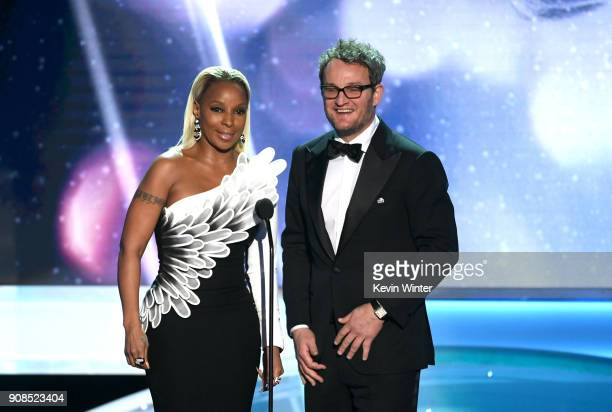 Actors Mary J Blige and Jason Clarke speak onstage during the 24th Annual Screen Actors Guild Awards at The Shrine Auditorium on January 21 2018 in...