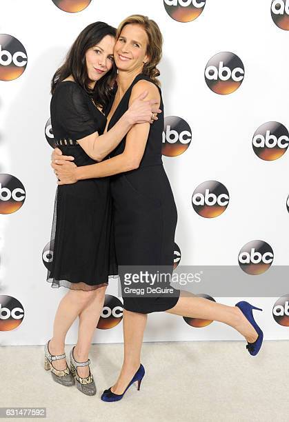 Actors Mary Louise Parker and Rachel Griffiths arrive at the 2017 Winter TCA Tour Disney/ABC at the Langham Hotel on January 10 2017 in Pasadena...