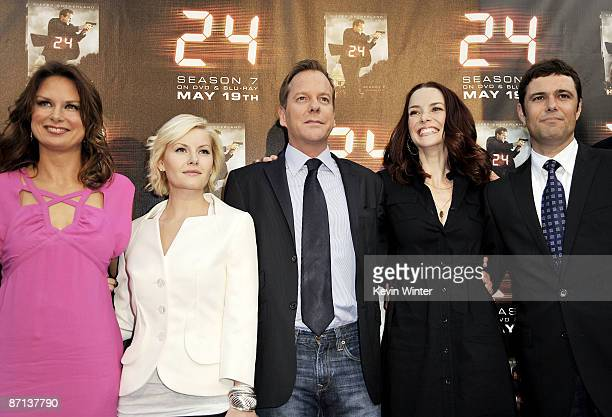Actors Mary Lynn Rajskub Elisha Cuthbert Kiefer Sutherland Annie Wersching and Carlos Bernard pose at the screening of the season finale for Fox's 24...
