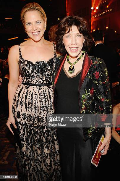 Actors Mary McCormack and Lily Tomlin pose backstage during the 62nd Annual Tony Awards at Radio City Music Hall on June 15 2008 in New York City