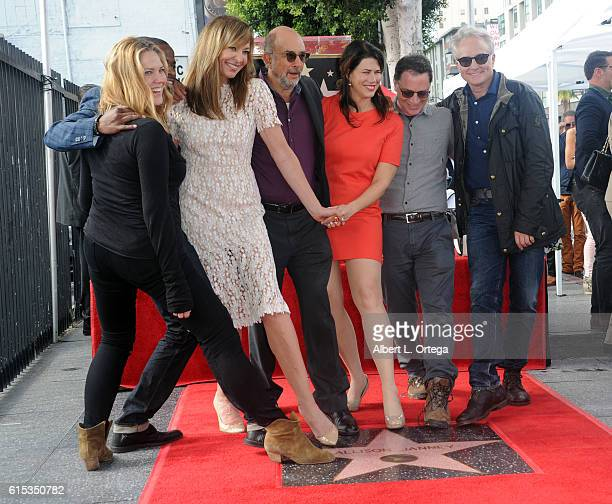 Actors Mary McCormack, Dule Hill, Allison Janney, Richard Schiff, Joshua Molina and Bradley Whitford of 'The West Wing' at the Star ceremony held On...