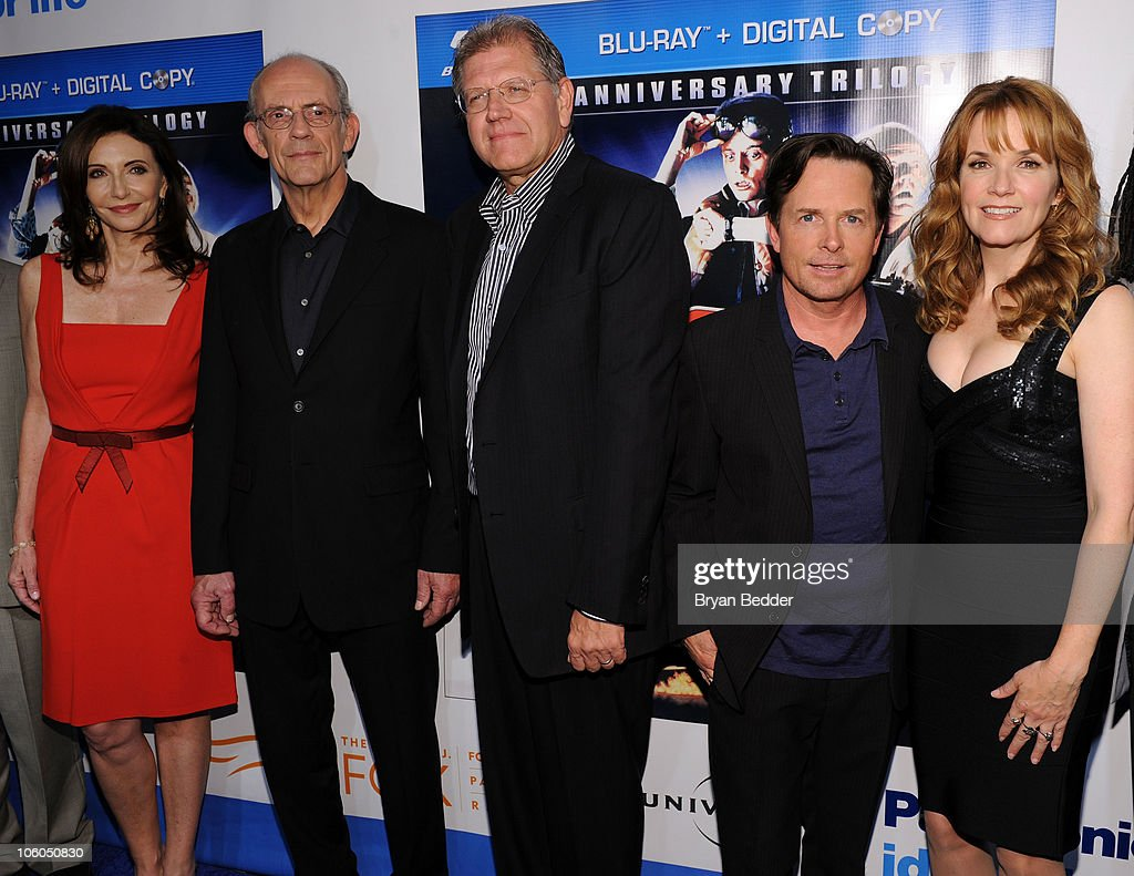 Actors Mary Steenburgen, Christopher Lloyd, Robert Zemeckis, Michael J. Fox and Lea Thompson attend the 'Back to the Future' 25th anniversary trilogy Blu-Ray release at Gustavino's on October 25, 2010 in New York City.