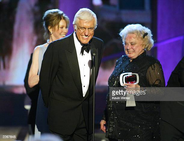Actors Mary Tyler Moore Dick Van Dyke and Rose Marie from The Dick Van Dyke Show accept their Legend Award during the TV Land Awards 2003 at the...