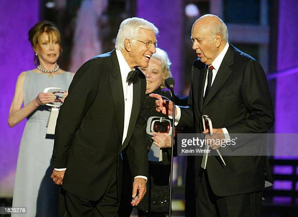 Actors Mary Tyler Moore Dick Van Dyke Rose Marie and Carl Reiner from The Dick Van Dyke Show accept their Legend Award during the TV Land Awards 2003...