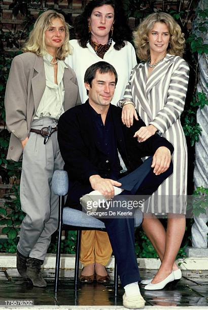 Actors Maryam d'Abo Julie T Wallace Timothy Dalton and Caroline Bliss attend a photocall for the promotion of the James Bond film 'The Living...