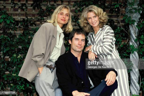 Actors Maryam d'Abo Timothy Dalton and Caroline Bliss attend a photocall for the promotion of of the James Bond film 'The Living Daylights' directed...