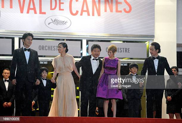 Actors Masaharu Fukuyama Keita Ninomiya Machiko Ono director Hirokazu Koreeda actors Yoko Maki Shogen Whang and Lily Franky attend the 'Soshite...