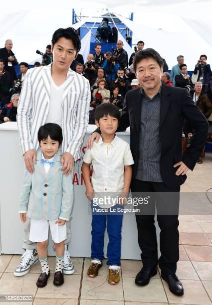 Actors Masaharu FukuyamaKeita Ninomiya Shogen Whang and Director Hirokazu Koreeda attend the 'Soshite Chichi Ni Naru' Photocall during the 66th...