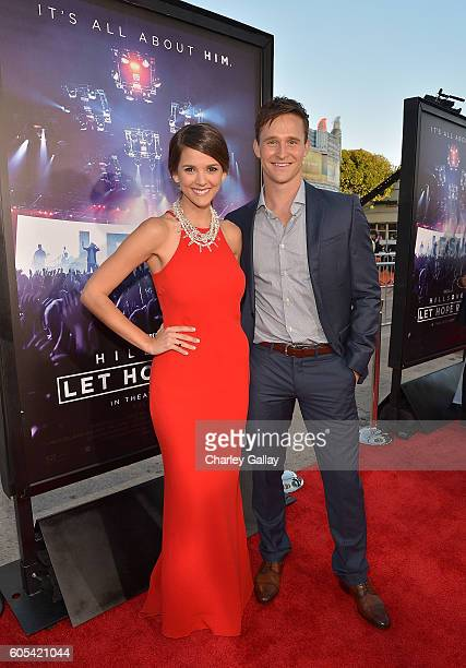 """Actors Masey McLain and Ben Davies attend the """"Hillsong - Let Hope Rise"""" premiere at the Westwood Village theater on September 13, 2016 in Los..."""