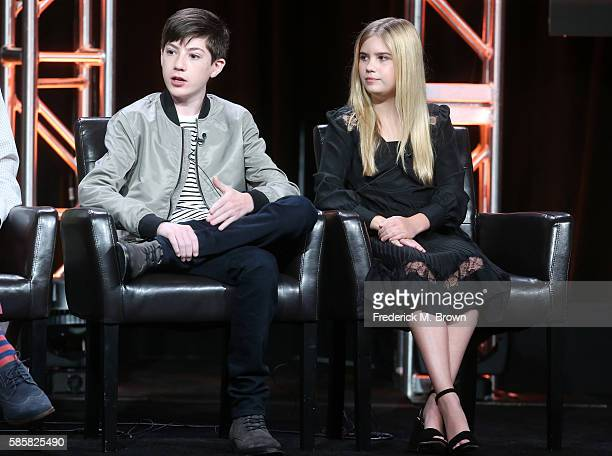 Actors Mason Cook and Kyla Kenedy speak onstage at the 'Speechless' panel discussion during the Disney ABC Television Group portion of the 2016...
