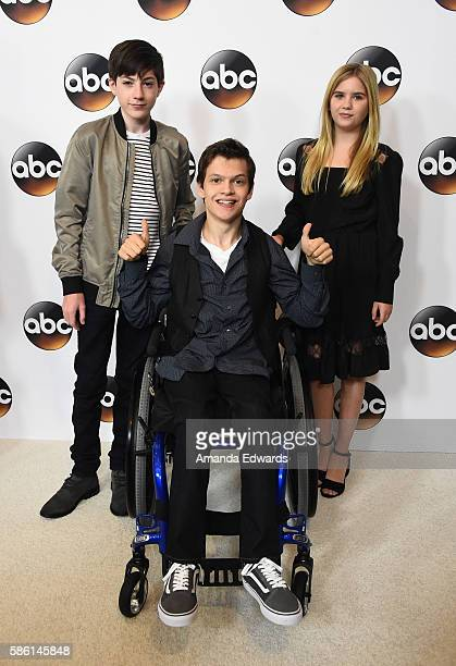 Actors Mason Cook Micah Fowler and Kyla Kenedy attend the Disney ABC Television Group TCA Summer Press Tour on August 4 2016 in Beverly Hills...