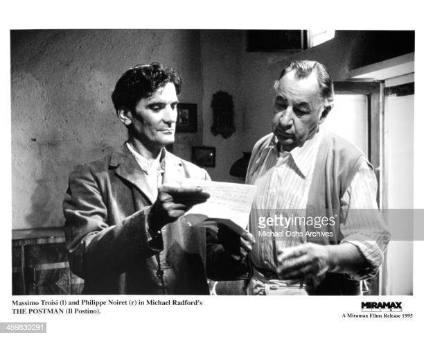 Actors Massimo Troisi and Philippe Noiret on set of the movie Il Postino The Postman circa 1994