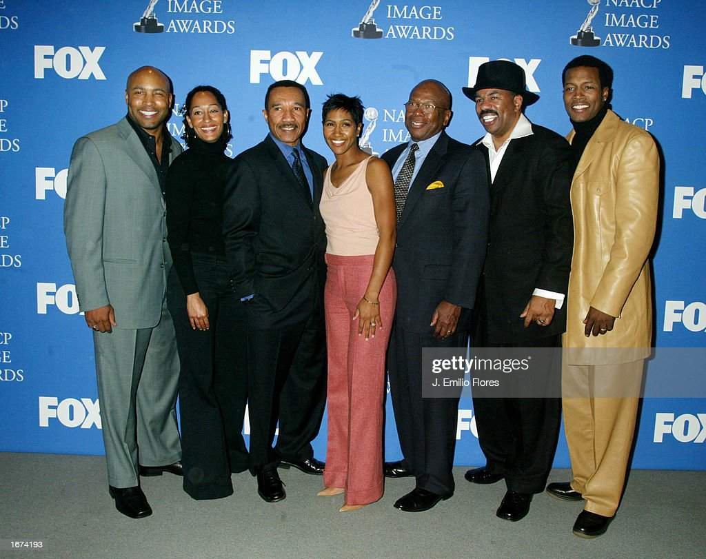 Actors Mathew St. Patrick, actress Tracee Ellis Ross, NAACP president Kweisi Mfume, actress Terri Vaughn, Charles Whitehead, celebrity Steve Harvey and actor Flex Alexander pose during a press conference for the 34th NAACP Image awards on December 5, 2002 in West Hollywood, California. The 34th NAACP Image Awards will be taped at the Universal Amphitheatre March 8, 2003 and will air on March 13th.