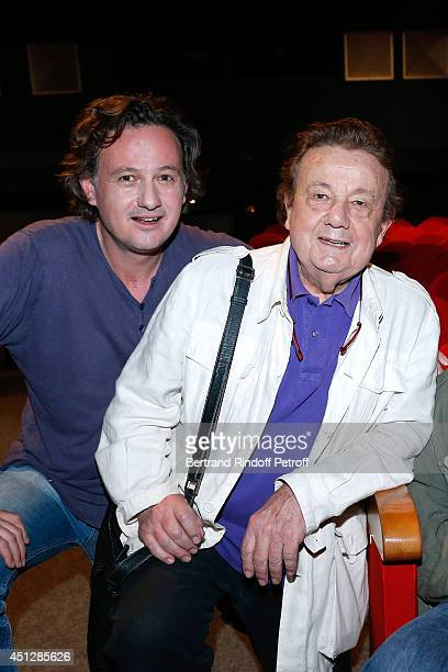 Actors Mathias Marechal and his father Marcel Marechal attend 'Le Cavalier seul' Theater Play at Theatre 14 on June 26 2014 in Paris France