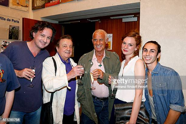 Actors Mathias Marechal his father Marcel Marechal JeanPaul Belmondo Celine MartinSisteron and Nassim Haddouche pose backstage after 'Le Cavalier...