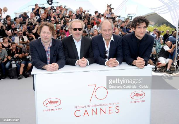 Actors Mathieu Amalric director Arnaud Desplechin Hippolyte Girardot and Louis Garrel attend the 'Ismael's Ghosts ' photocall during the 70th annual...