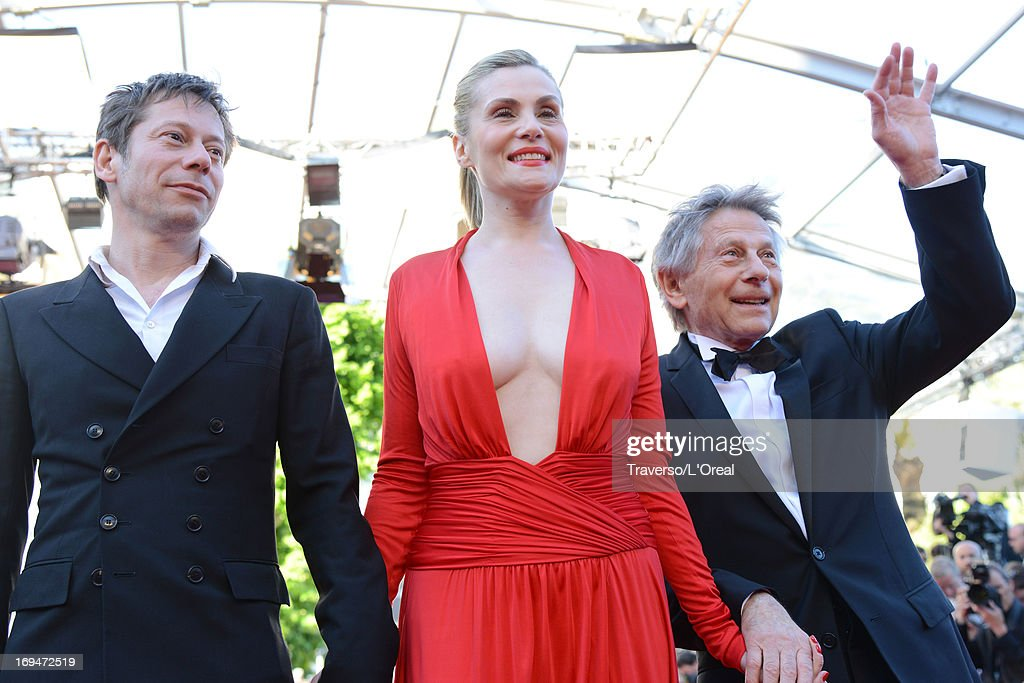 Actors Mathieu Amalric, Emmanuelle Seigner and director Roman Polanski attend the 'La Venus A La Fourrure' premiere during The 66th Annual Cannes Film Festival at Theatre Lumiere on May 25, 2013 in Cannes, France.