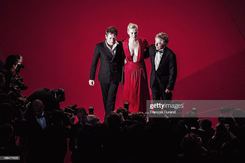Actors Mathieu Amalric, Emmanuelle Seigner and director Roman Polanski attend the 'La Venus A La Fourrure' premiere during The 66th Annual Cannes Film Festival on May 25, 2013 in Cannes, France.