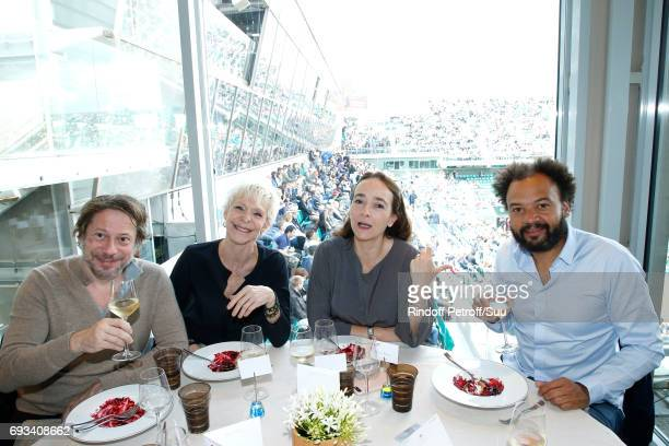 Actors Mathieu Amalric Tonie Marshall President of France Television Delphine Ernotte and actor Fabrice Eboue celebrate Fabrice's Birthday as they...