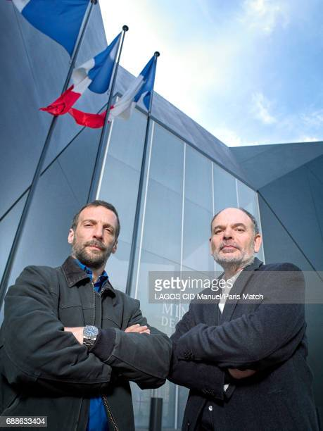 Actors Mathieu Kassovitz and Jean Pierre Darroussin are photographed for Paris Match on April 24, 2017 in Paris, France.