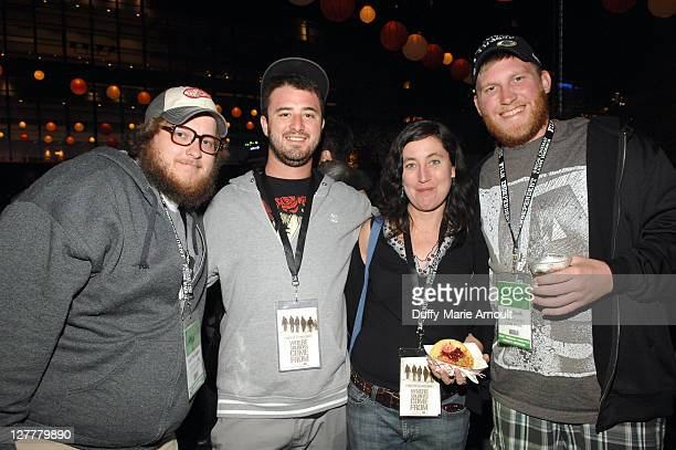Actors Matt Beaudoin and Dominic Fredianelli producer/director Heather Courtney and actor Cole Smith attend the Latin Filmmaker Party during the 2011...