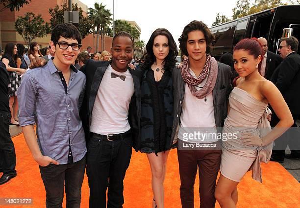 Actors Matt Bennett, Leon Thomas III, Elizabeth Gilles, Avan Jogia, and Ariana Grande arrive at Nickelodeon's 24th Annual Kids' Choice Awards at...