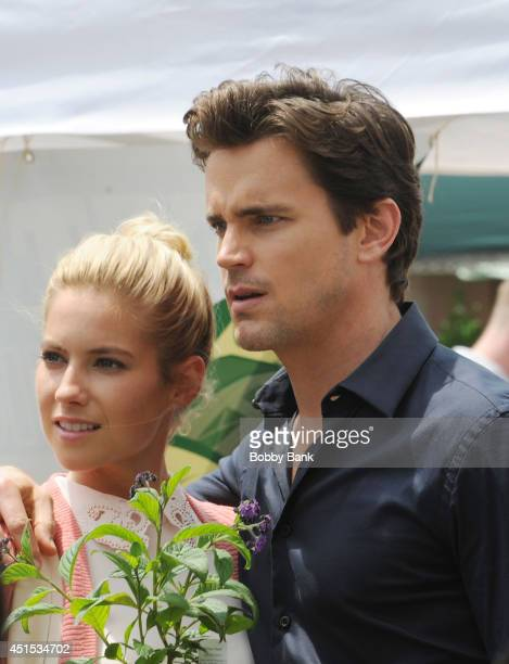 Actors Matt Bomer and Laura Ramsey on the set of 'White Collar' on June 30 2014 in New York City