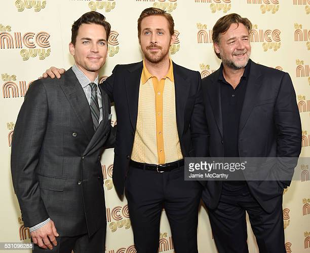 Actors Matt Bomer Ryan Gosling and Russell Crowe attend The Nice Guys New York Screening at Metrograph on May 12 2016 in New York City