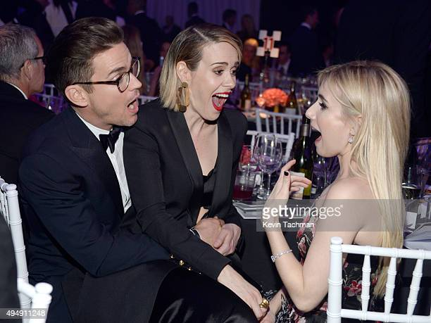 Actors Matt Bomer Sarah Paulson and Emma Roberts attend the amfAR Inspiration Gala at Milk Studios on October 29 2015 in Hollywood California