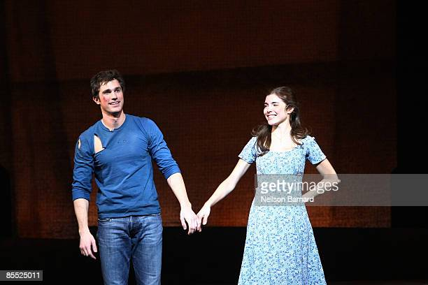 Actors Matt Cavenaugh and Josefina Scaglione take to the stage for the curtain call at the opening night of West Side Story on Broadway at the Palace...