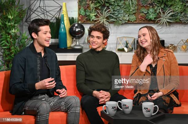 Actors Matt Cornett Joshua Bassett and Julia Lester visit BuzzFeed's AM To DM to discuss Disney web television series High School Musical The Musical...