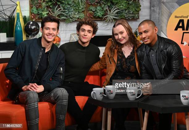 Actors Matt Cornett Joshua Bassett Julia Lester and host Zach Stafford pose for photos at BuzzFeed's AM To DM on November 08 2019 in New York City