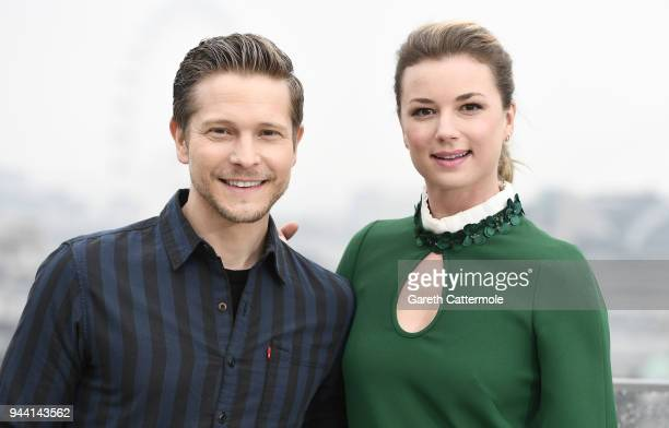 Actors Matt Czuchry and Emily VanCamp attend 'The Resident' photocall at NBC Universal on April 10 2018 in London England