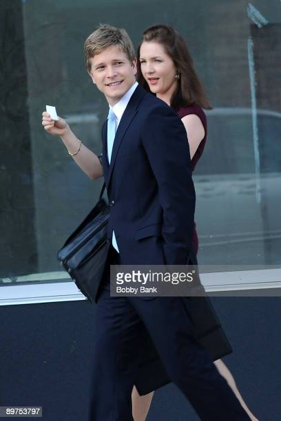 Actors Matt Czuchry and Jessica Collins are seen on location for 'The Good Wife' August 11 2009 in the Long Island City neighborhood of the Queens...