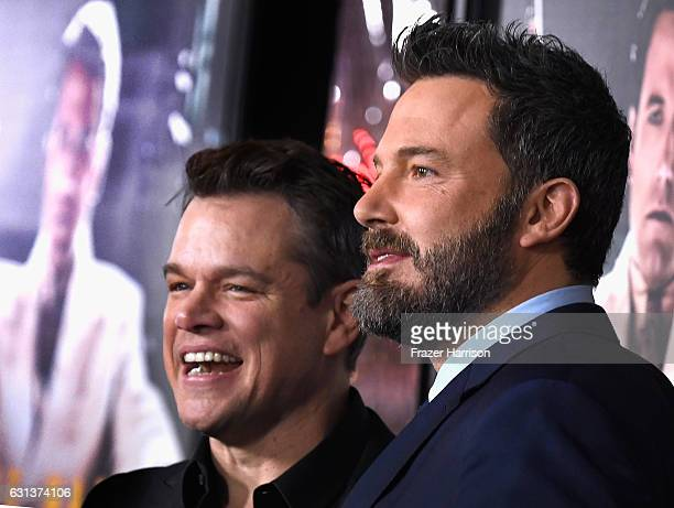 Actors Matt Damon and Ben Affleck arrive at the Premiere Of Warner Bros Pictures' 'Live By Night' at TCL Chinese Theatre on January 9 2017 in...