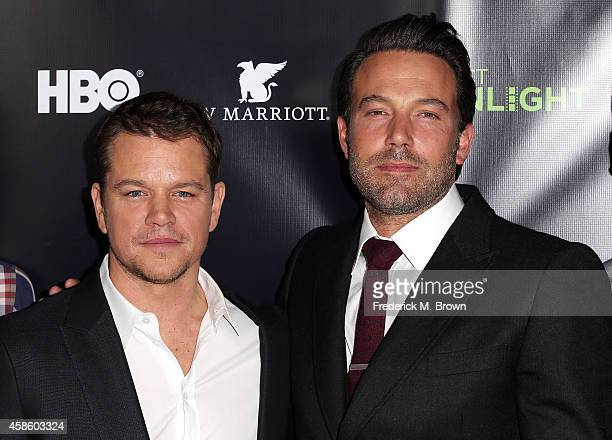 Actors Matt Damon and Ben Affleck attend HBO Reveals Winner of Project Greenlight Season 4 at BOULEVARD3 on November 7 2014 in Los Angeles California