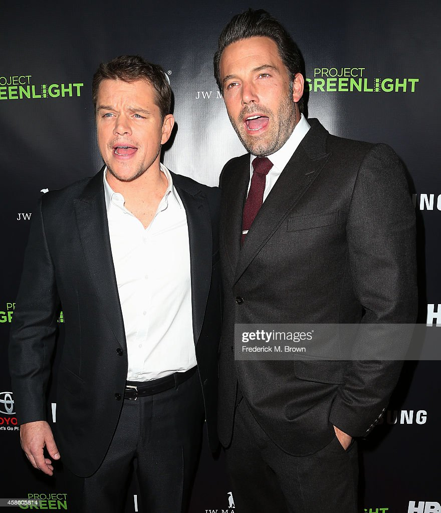 Actors Matt Damon (L) and Ben Affleck attend HBO Reveals Winner of 'Project Greenlight' Season 4 at BOULEVARD3 on November 7, 2014 in Los Angeles, California.