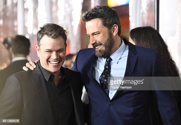 Actors Matt Damon and Ben Affleck attend the premiere of Warner Bros Pictures' 'Live By Night' at TCL Chinese Theatre on January 9 2017 in Hollywood...