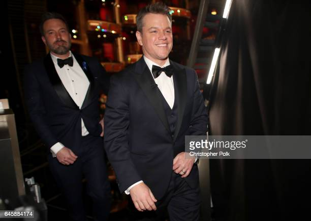 Actors Matt Damon and Ben Affleck backstage during the 89th Annual Academy Awards at Hollywood Highland Center on February 26 2017 in Hollywood...