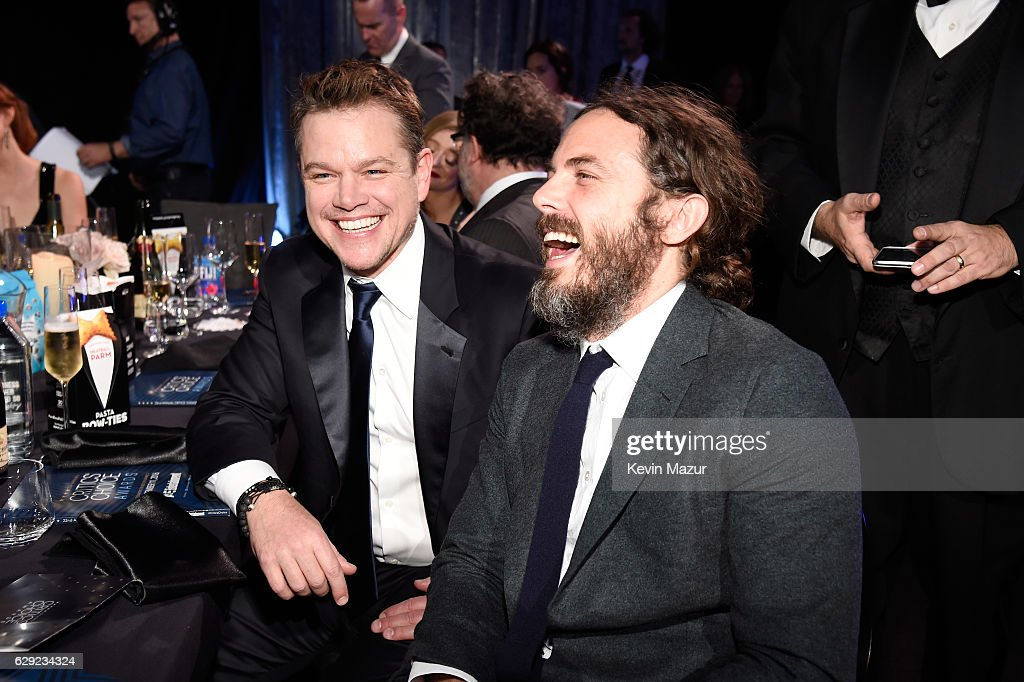 Actors Matt Damon (L) and Casey Affleck attend The 22nd Annual Critics' Choice Awards at Barker Hangar on December 11, 2016 in Santa Monica, California.