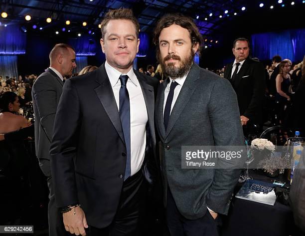 Actors Matt Damon and Casey Affleck attend the 22nd Annual Critic's Choice Awards at Barker Hangar on December 11 2016 in Santa Monica California