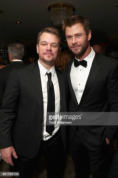Actors Matt Damon and Chris Hemsworth attend Amazon Studios Golden Globes Celebration at The Beverly Hilton Hotel on January 8 2017 in Beverly Hills...