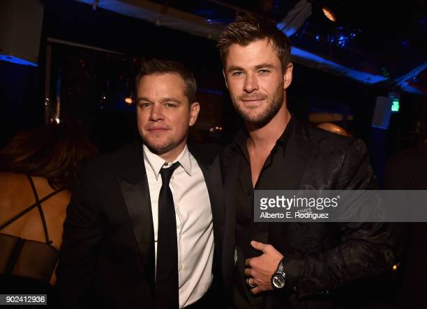 Actors Matt Damon and Chris Hemsworth attend Amazon Studios' Golden Globes Celebration at The Beverly Hilton Hotel on January 7 2018 in Beverly Hills...