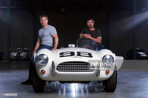Actors Matt Damon and Christian Bale are photographed for Sports Illustrated on August 8 2019 with AC Cobra car at the Shelby Building in Gardena...